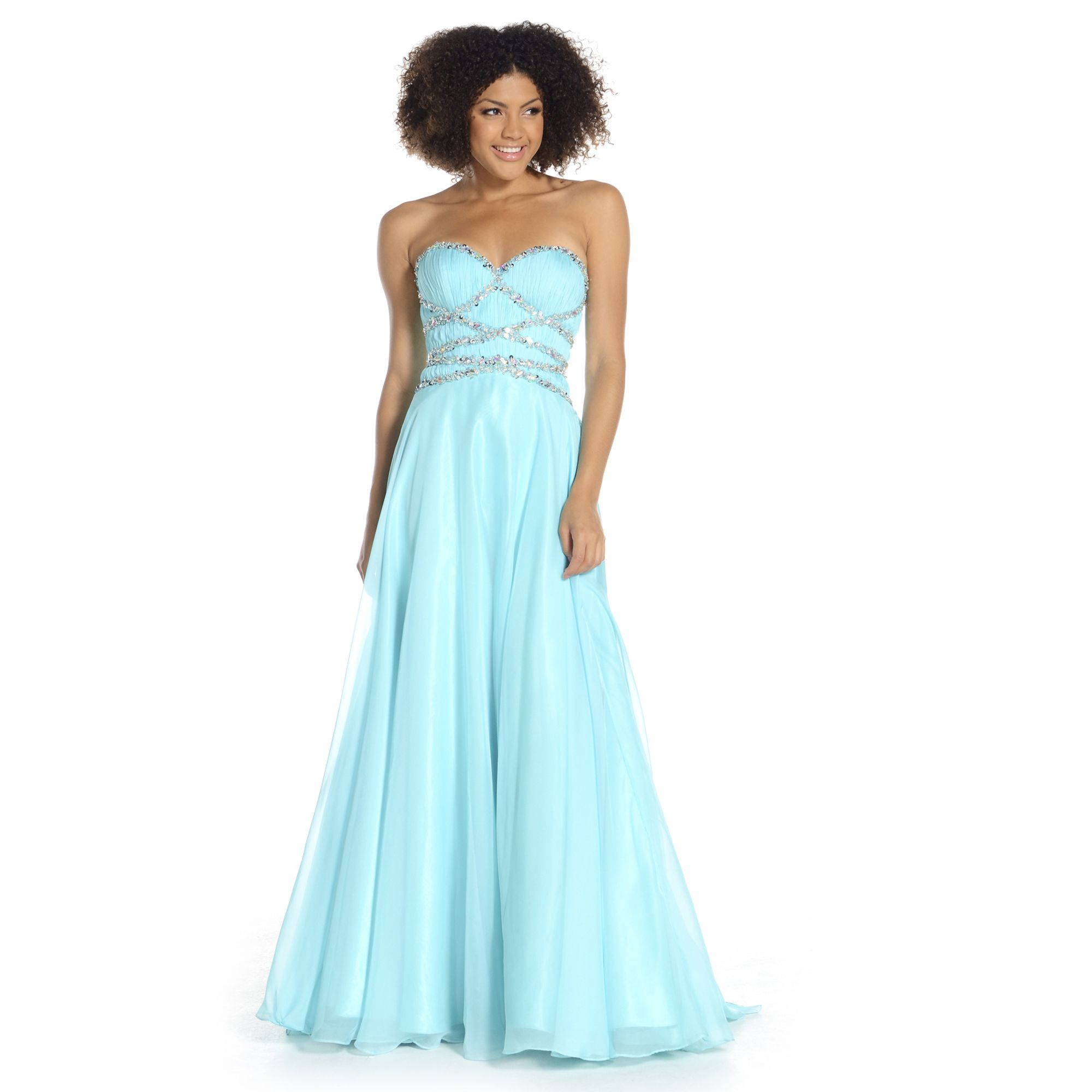 An elegant backless long prom dress with diamante detailed bodice ...