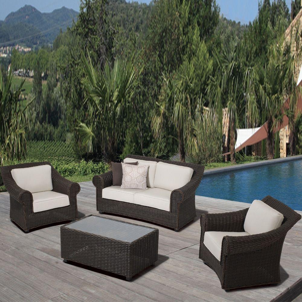 OVE Decors Brown Wicker Cushioned Outdoor Furniture Set (4 Piece Set) (Dark