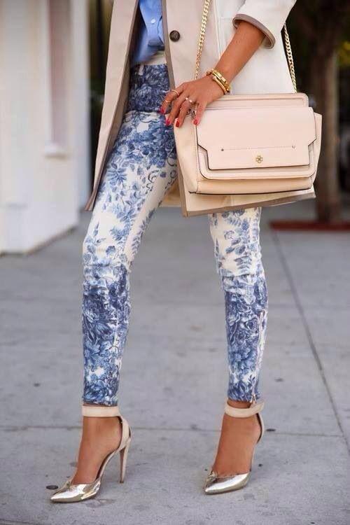 Street style #blue + nude
