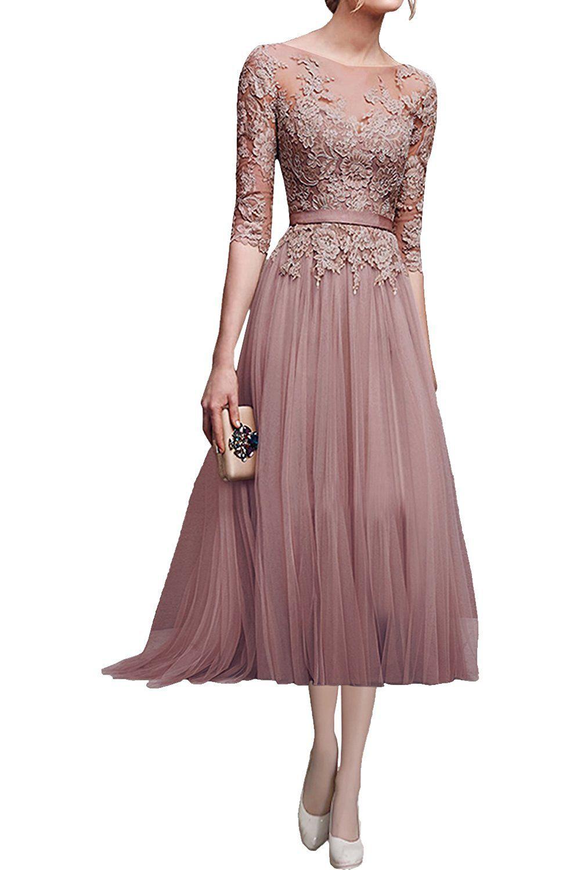 Victory Bridal Hochwertig Rosa Spitze Langarm Abendkleider