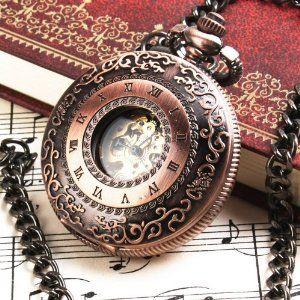 Yesurprise Mini Series See Through Hollow Red Bronze Big Mechanical Pocket Watch F016 Totem Yesurprise. $31.80