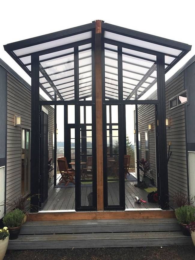 Two Tiny Houses And Open Air Sunroom Combine Into One