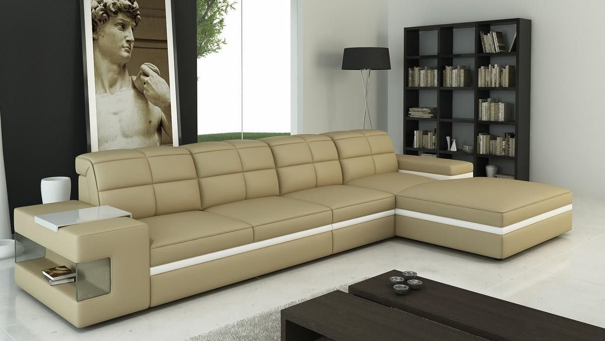 Best Vgev6132 Divani Casa 6132 Modern Beige And White Bonded Leather Sectional Sofa Sectional 400 x 300