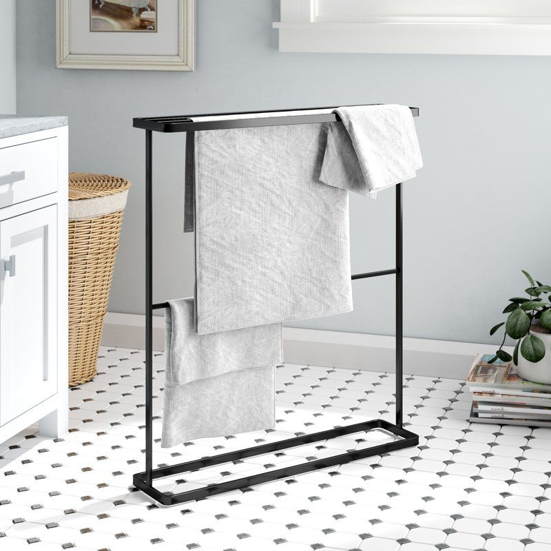 Rebrilliant Espinal Free Standing Towel Stand Reviews Wayfair Towel Rack Free Standing Towel Rack Bathroom Shelves For Towels