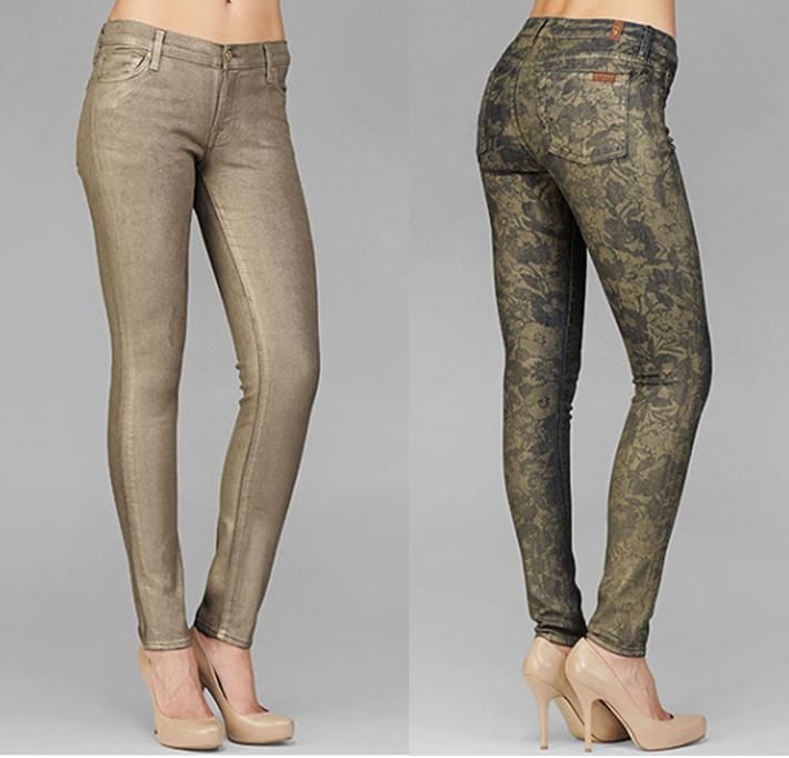7 for All Mankind The Skinny in Metallic Gold and The Skinny in Laser Gold Foil