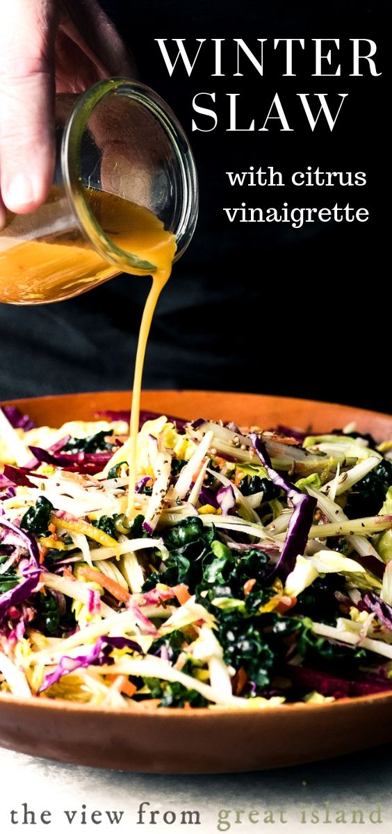 Vibrant Winter Slaw with Citrus Vinaigrette ~ a healthy low calorie side dish salad packed with vitamins, minerals, and lots of fiber.#coleslaw #salad #recipe #easy #healthy #lowcalorie #kale #cabbage #sidedish