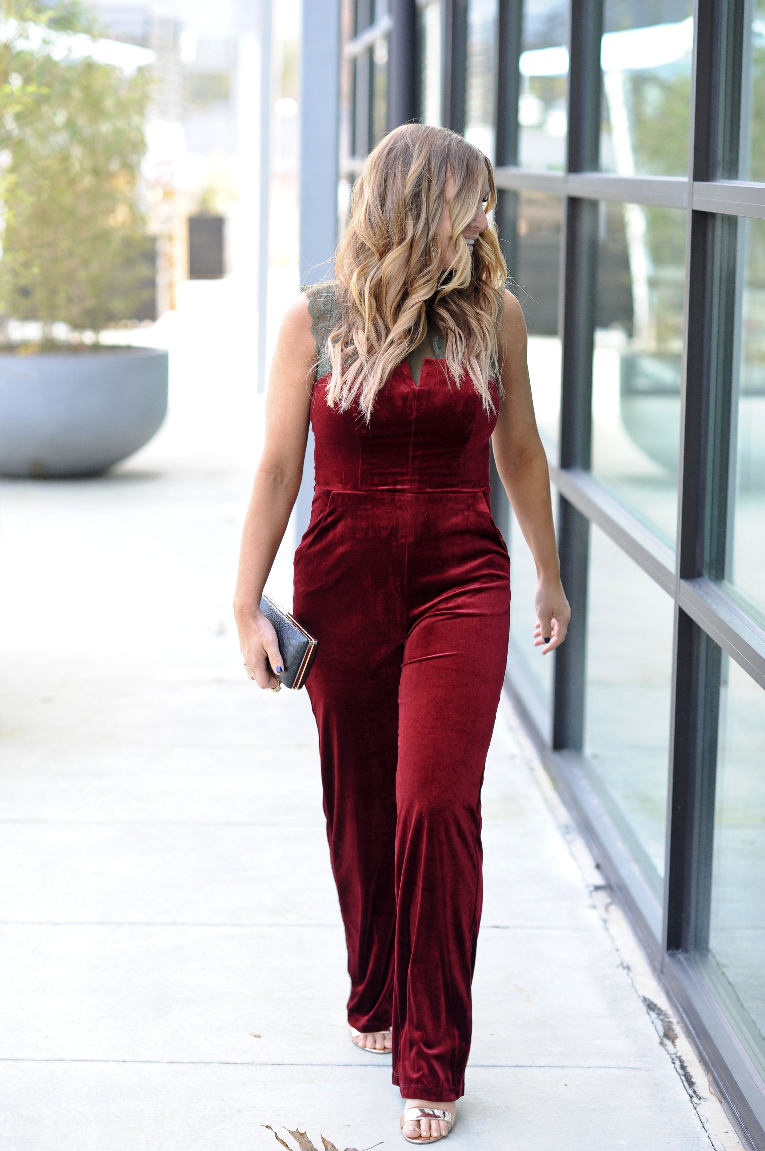 c83538cb237 How to layer a jumpsuit with a bodysuit. JCPenney red velvet jumpsuit    lace bodysuit