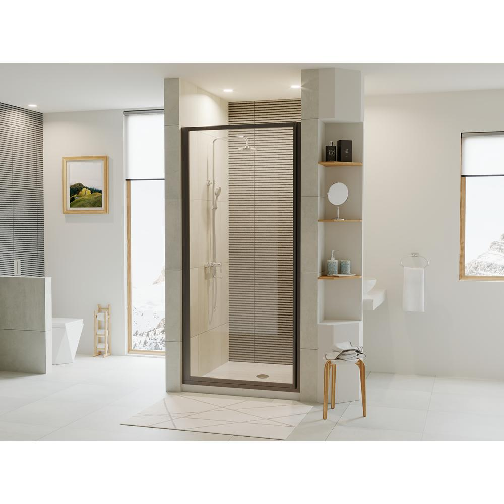 Coastal Shower Doors Legend 23 625 In To 24 625 In X 64 In Framed Pivot Shower Door In Matte Black With Clear Glass L24 66o C The Home Depot In 2020 Coastal Shower Doors