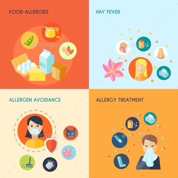 Allergy Flat Set Allergies Health Vector Allergy Treatment