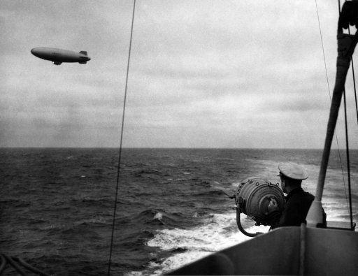 USS Duane Signaling Navy Blimp: 1943