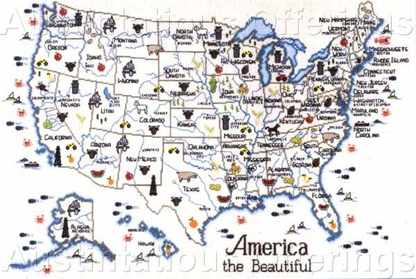Usa State Maps Cross Stitch Chart Series Sue Hillis Travel Map: Travel Usa Map At Infoasik.co