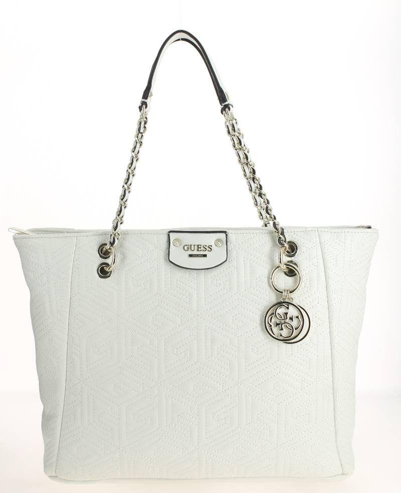 14ed1c7d27 Sac shopping GUESS G CUBE Blanc | Sac à main femme blanc | Bags ...
