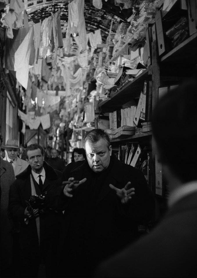 Orson Welles directs Anthony Perkins on the set of The Trial (1962) Photo by Nicolas Tikhomiroff