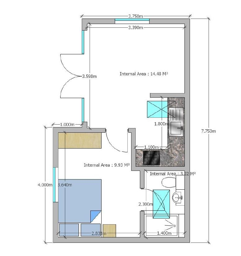 Granny annexe floor plan with a double bedroom ensuite for Ensuite floor plans