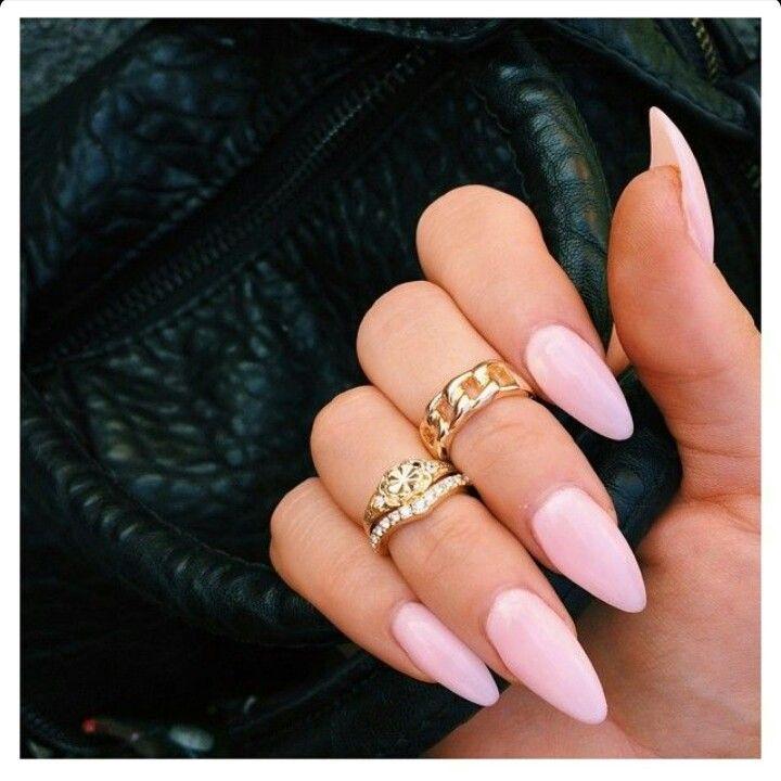 Light Pink Almond Acrylic Nails W Midi Rings Pink Acrylic Nails Almond Acrylic Nails Pink Nails