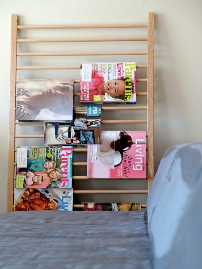 upcycling ideen einfach babybett recyceln gitter halter zeitschriften stauraum einrichtung. Black Bedroom Furniture Sets. Home Design Ideas