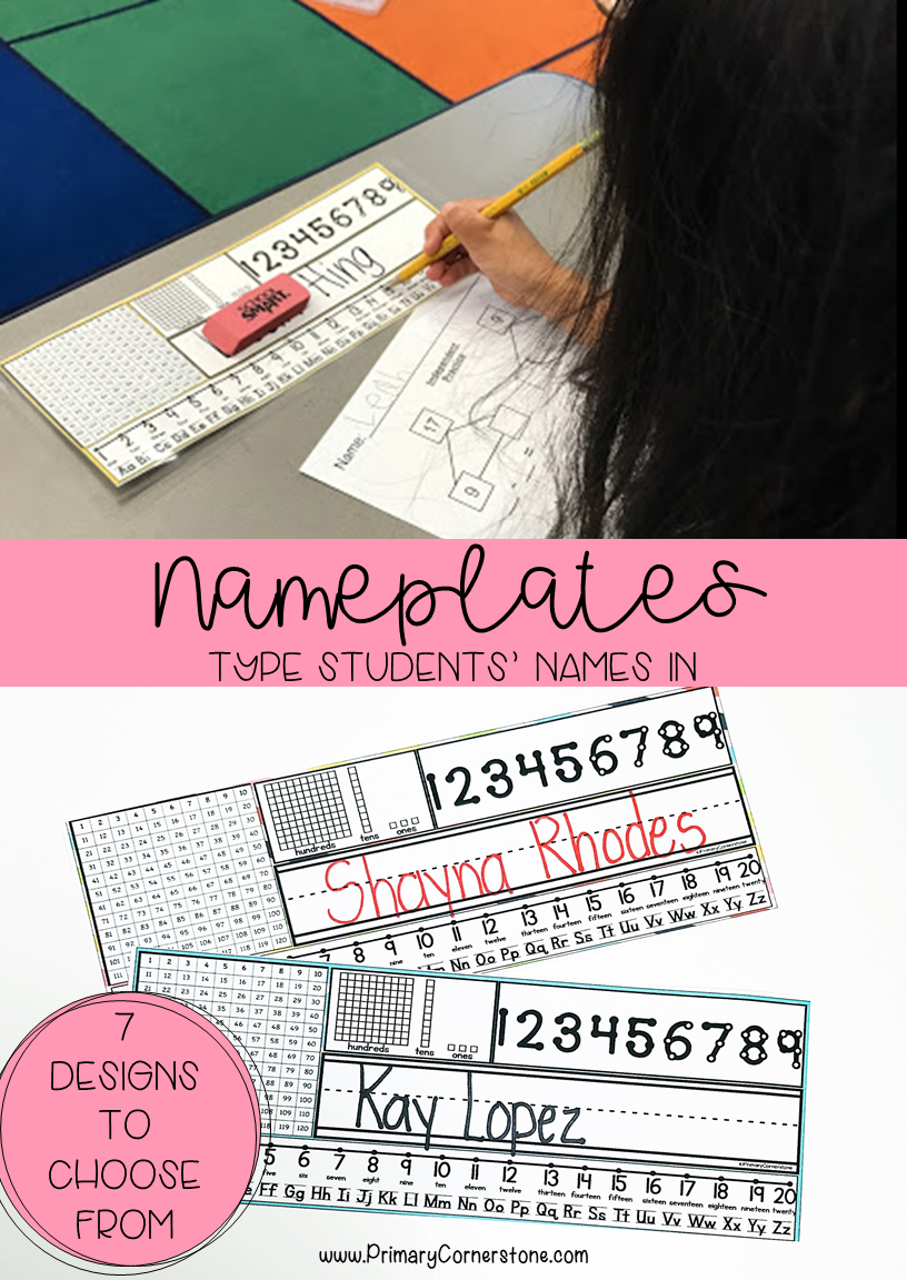 Colorful Desk Nameplates (7 different background colors) | Resources ...