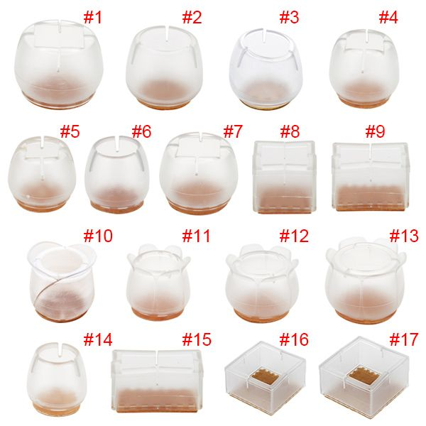 10pcs Silicone Rectangle Square Round Chair Leg Caps Feet Pads Furniture Table Covers Wood Floor Protectors Hogard
