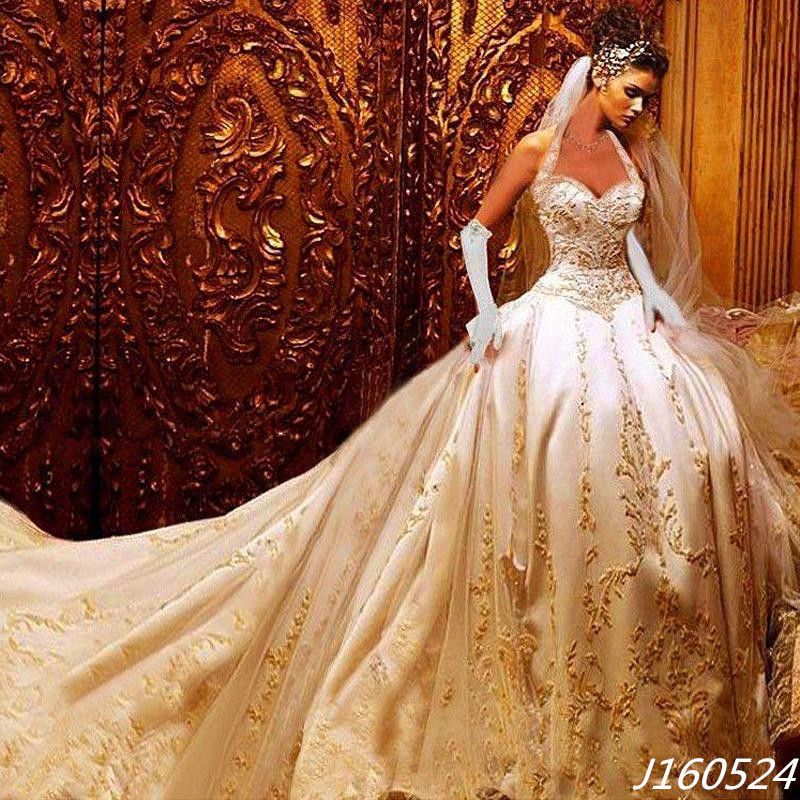Luxury Mermaid Gold Appliques Embroidery Taffeta Wedding Dresses ...