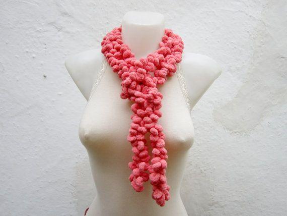 Hand crochet Long Scarf  peachy Mulberry Scarf  Pompom by nurlu, $10.00