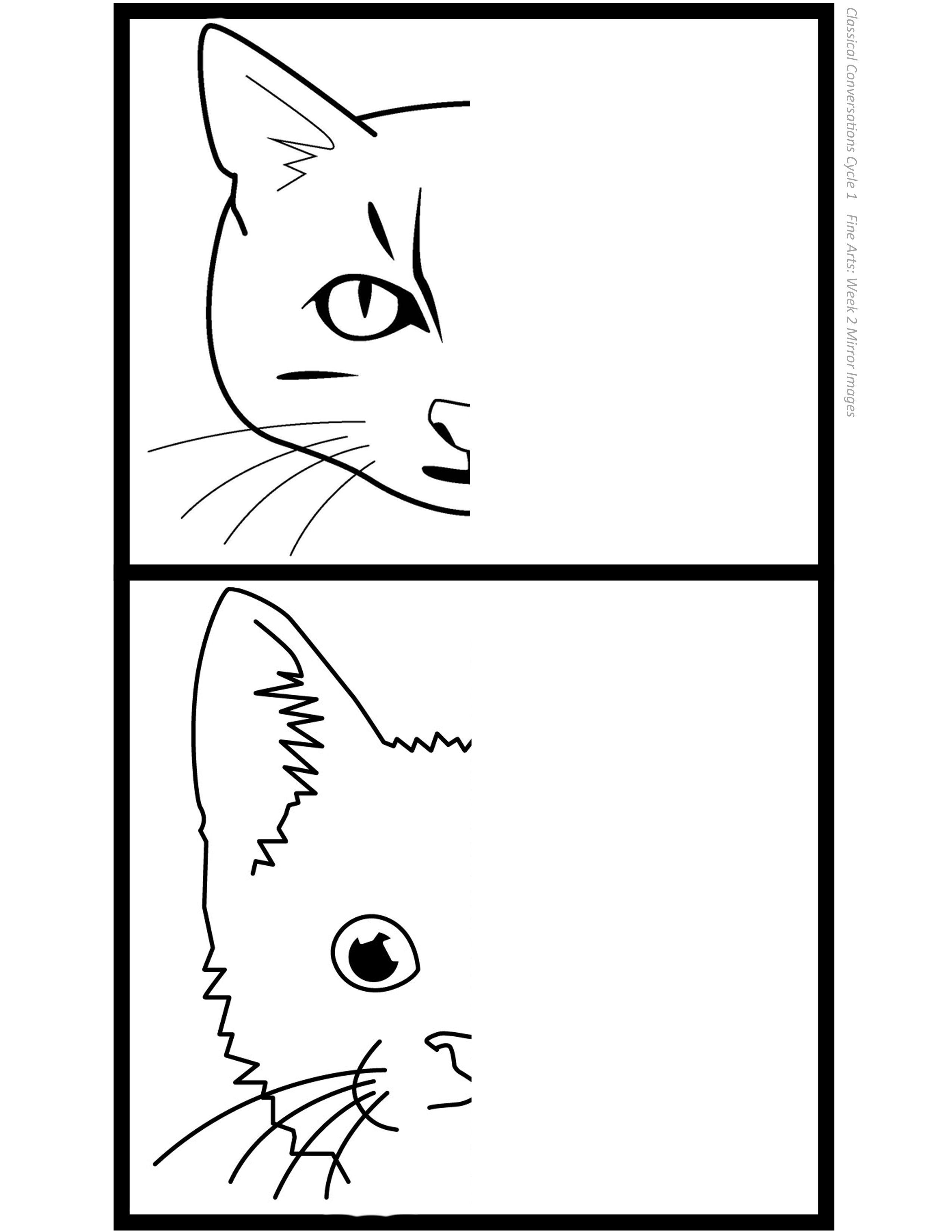 Classical Conversations Cycle 1 Week 2 Fine Arts Mirror Images Cats Printout Conversation Art Cc Drawing Classical Conversations