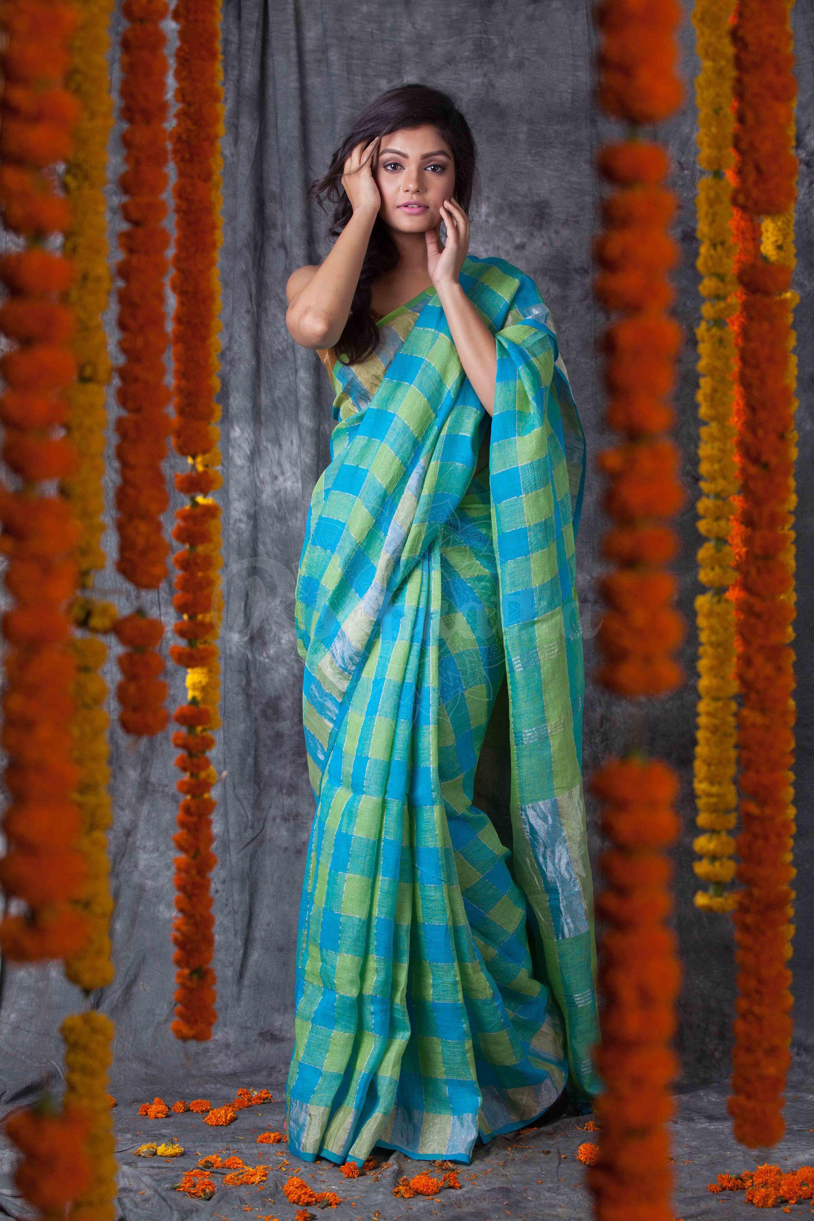 8bce669ef017a Blue Green Check Linen Saree With Zari Border-LN002000678