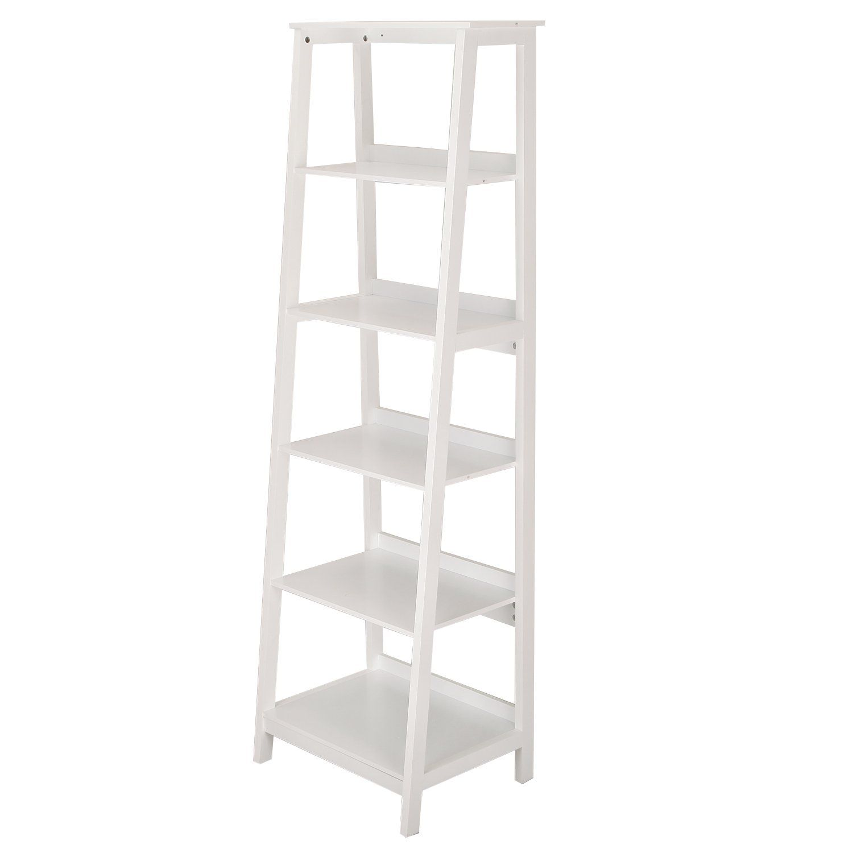 Asense wood bookcase ladder tier ladder shelf white home