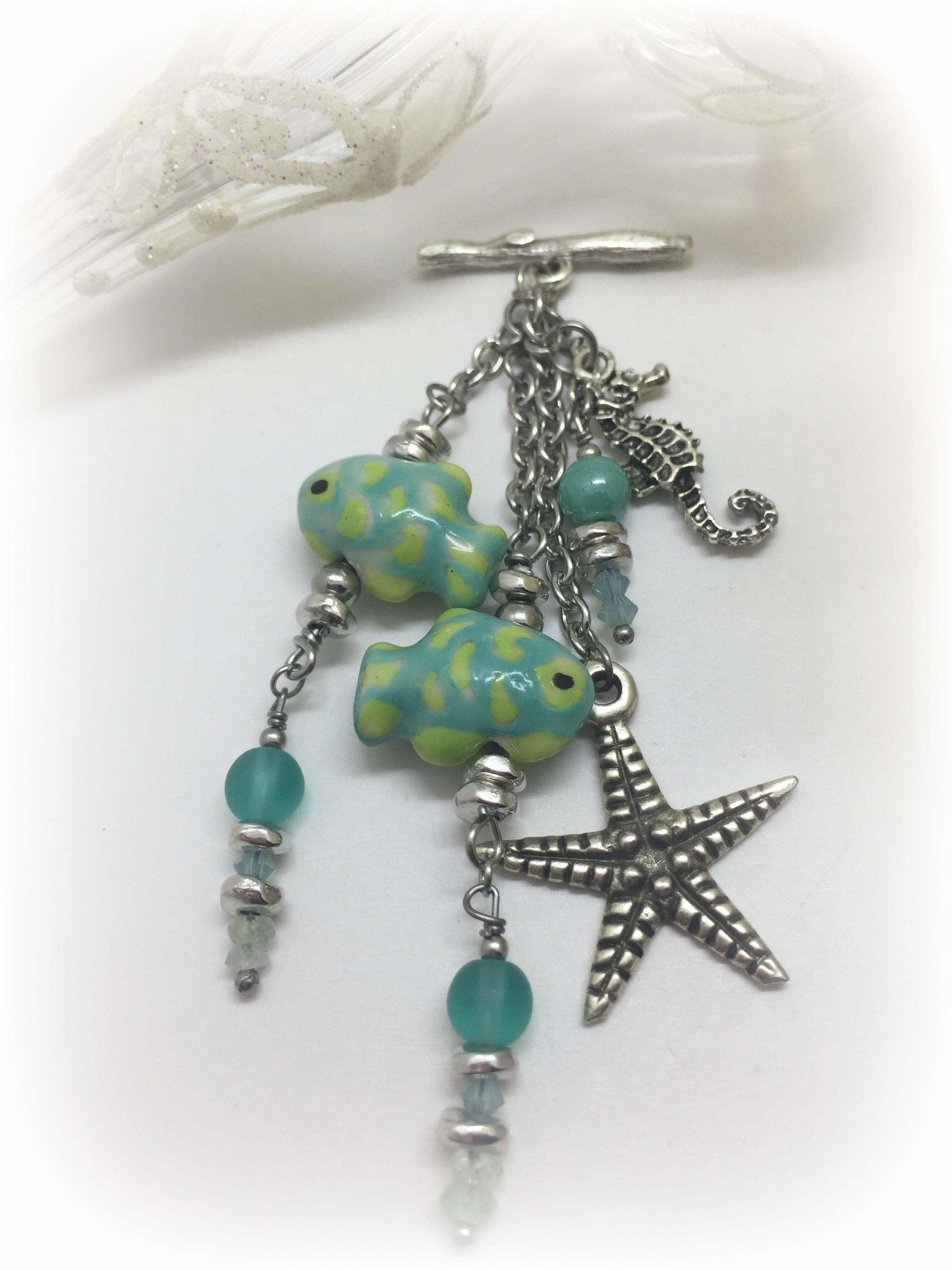 Turquoise & Yellow Fish Beaded Pendant #1253D