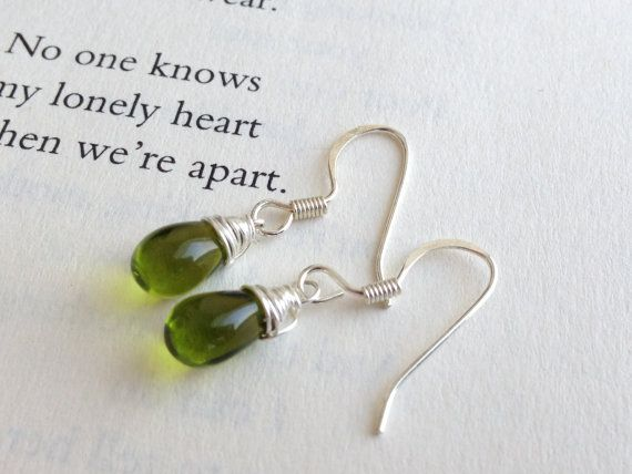 Verde- Think Spring!! Green Glass  Wire Wrapped  Dangle Earrings- FREE SHIPPING