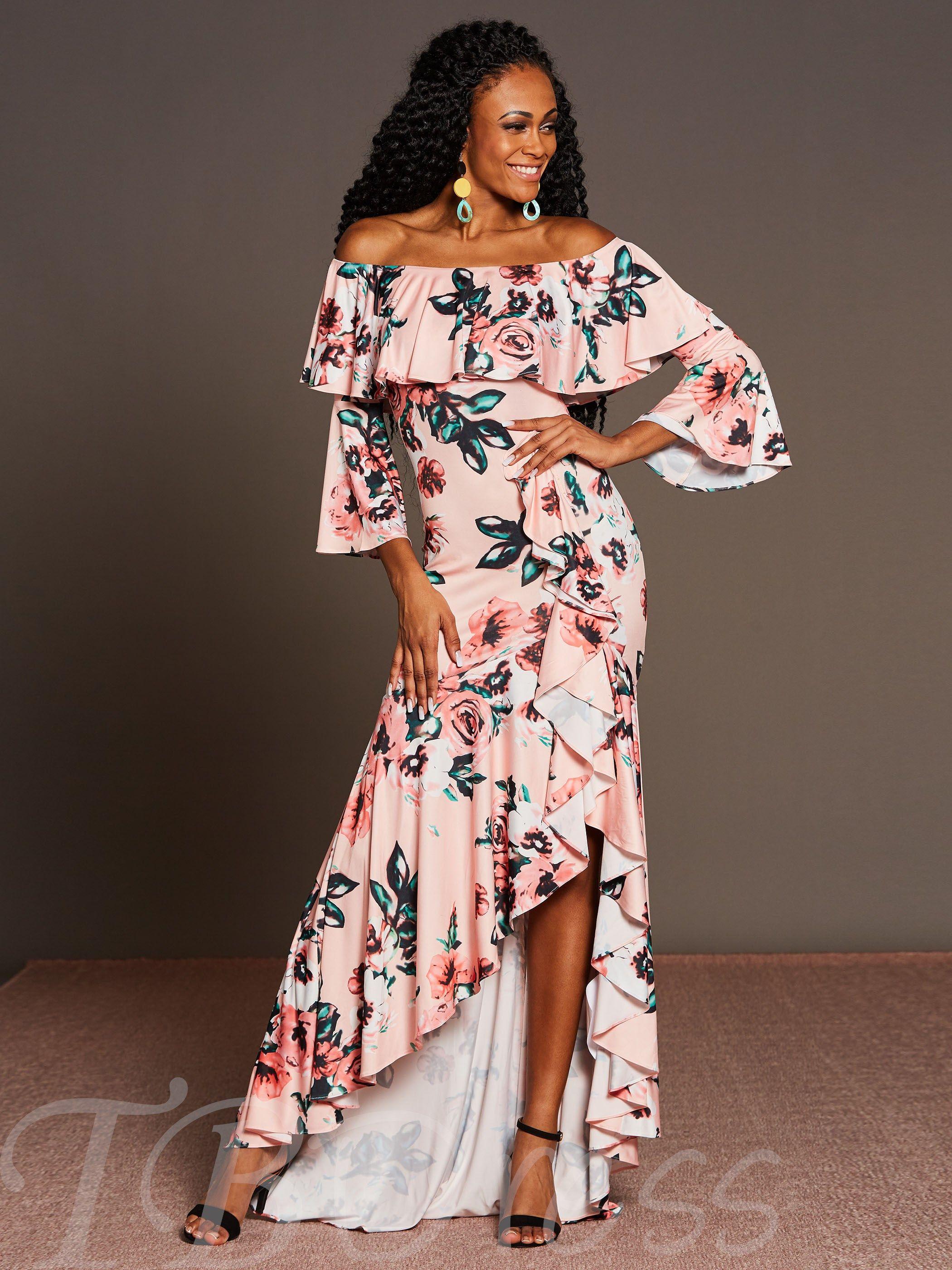Pink 3 4 Sleeve Printing Women S Maxi Dress Cheap Maxi Dresses Womens Maxi Dresses Womens Floral Dress [ 2800 x 2100 Pixel ]