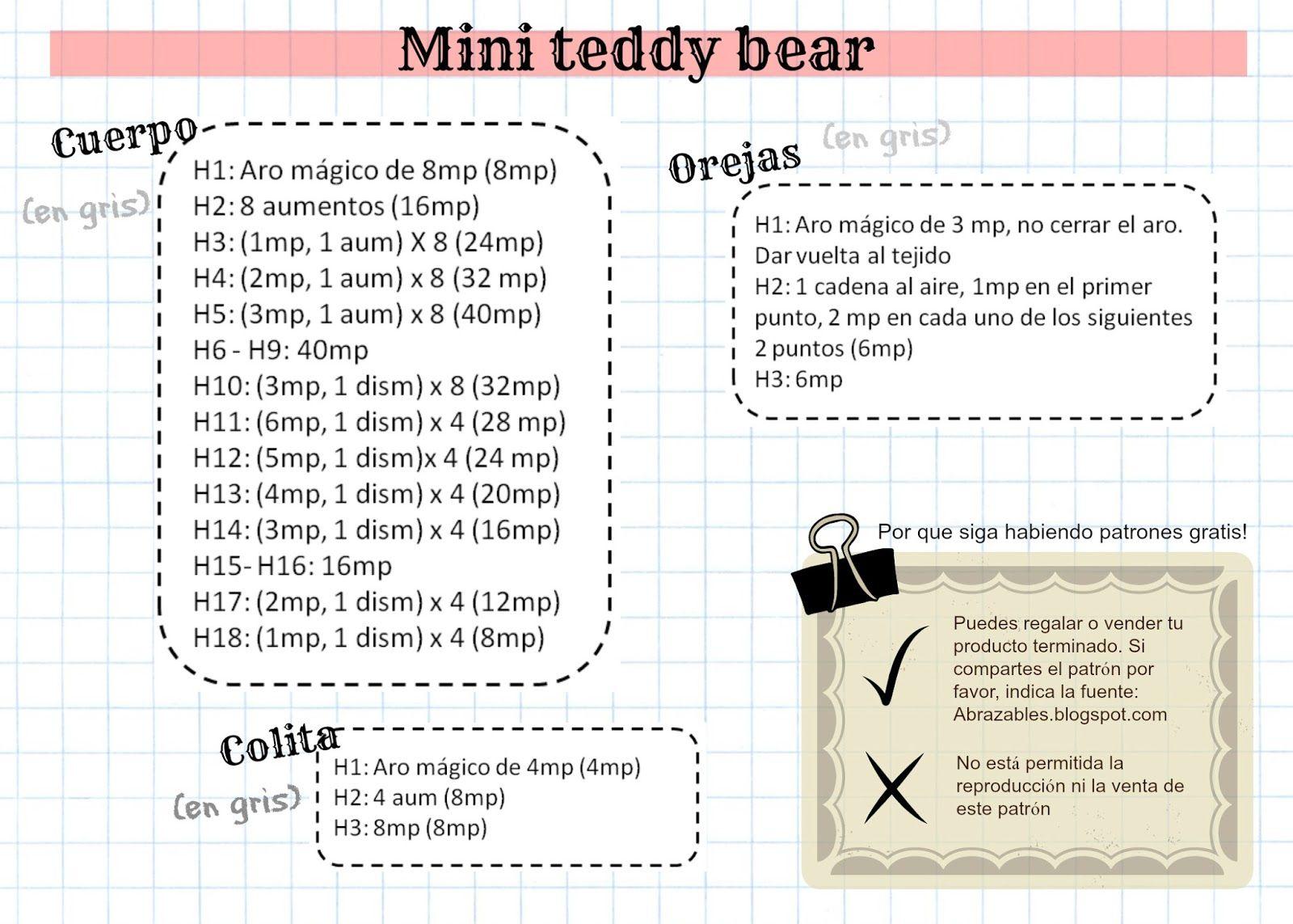 Abrazables: Mini teddy bear | maatiate | Pinterest | Mini teddy ...