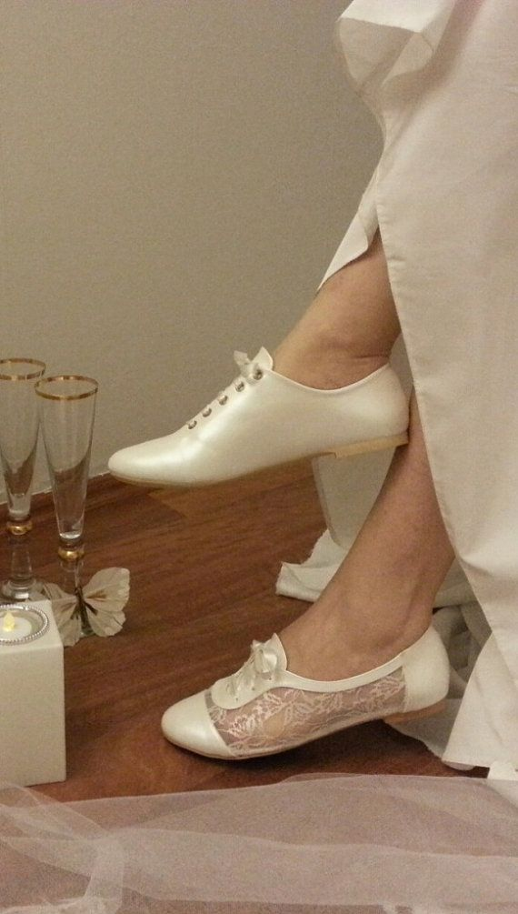 096dade2f72f PEARL Lace Bridal Flats Wedding lace ivory sport shoes 1006
