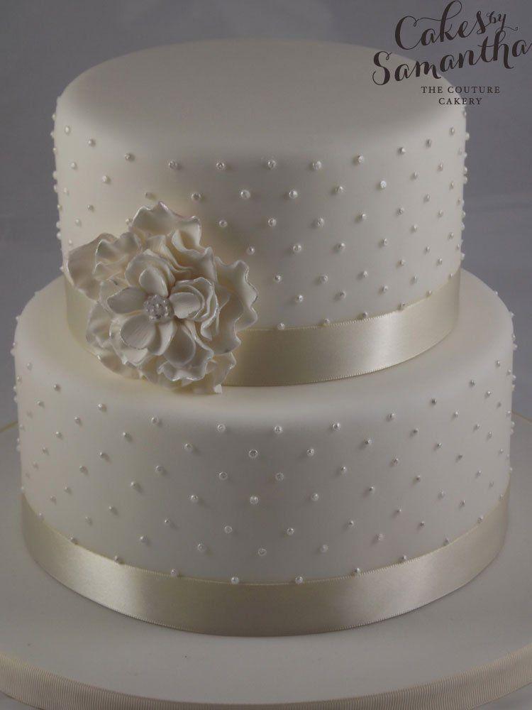 Ruffle wedding cake small 2 tier wedding cake with pearl ruffle wedding cake small 2 tier wedding cake with pearl piping and ruffle flower junglespirit Choice Image
