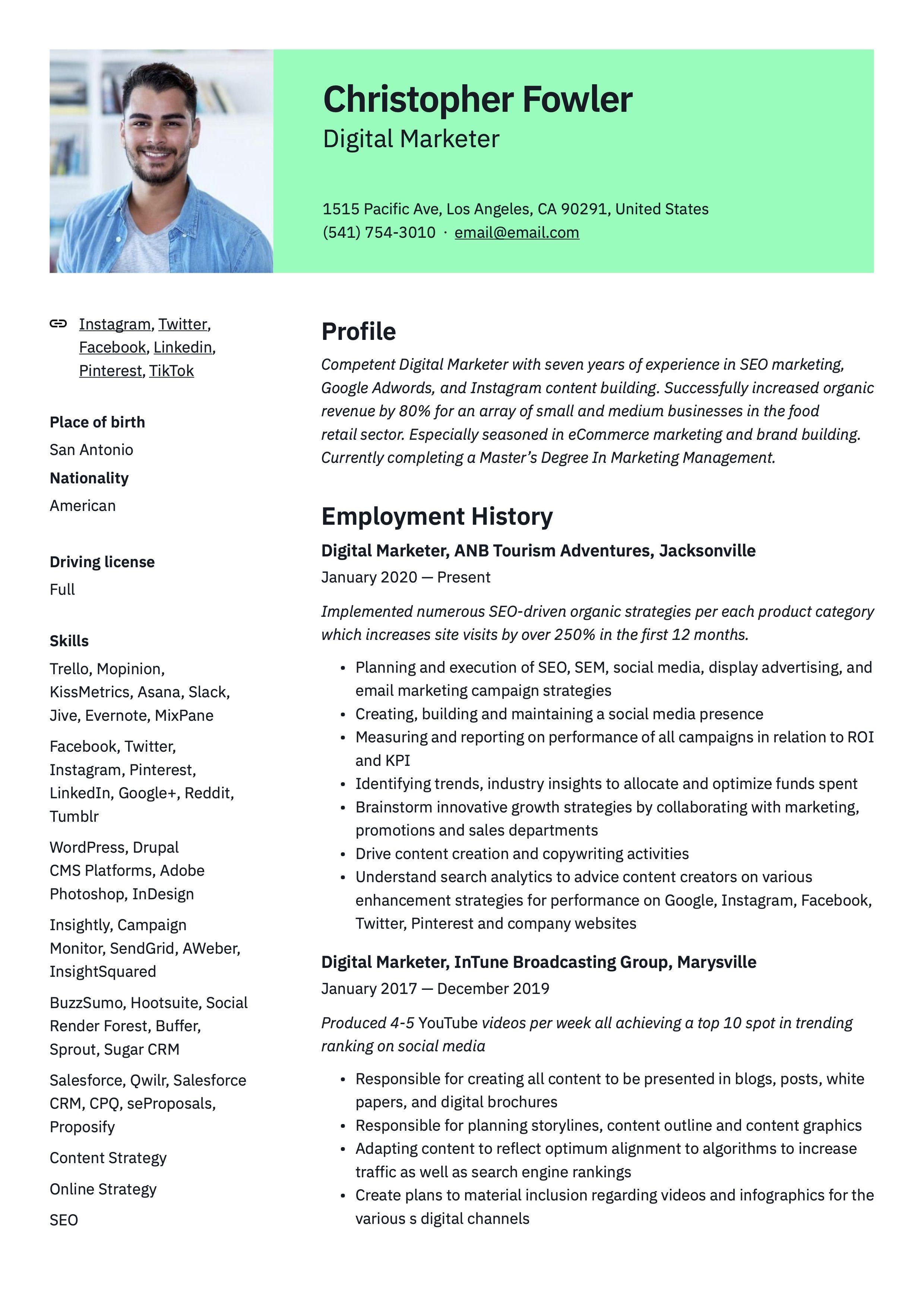 Digital marketer resume example in 2020 digital