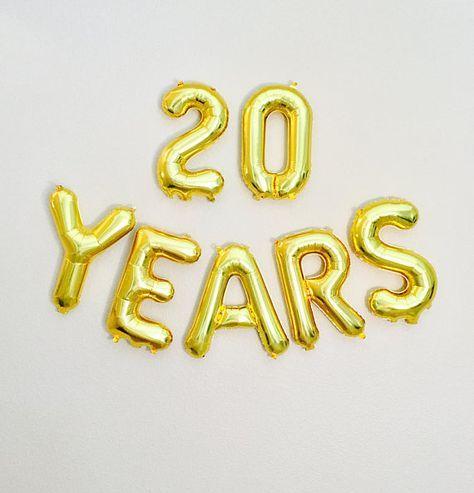 20 YEARS Balloon 20th Birthday Photo Prop Anniversary