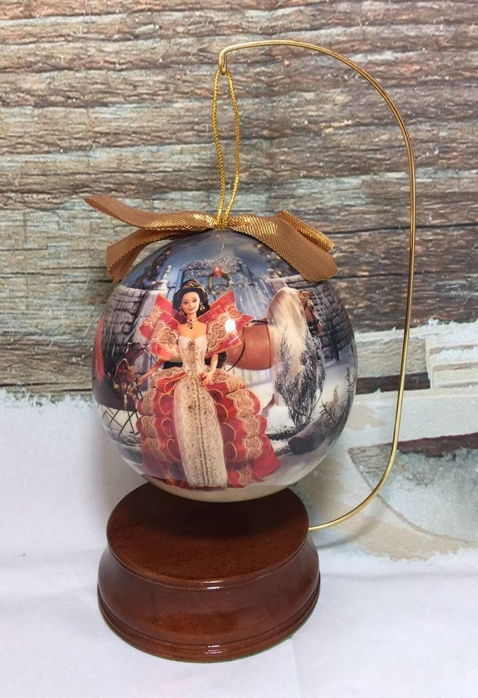 Collectible Christmas Ornaments vintage barbie collectible christmas ornament with wood display