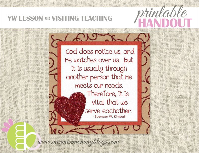 Prayers Answered Through Service Handouts | Mormon Mommy Printables