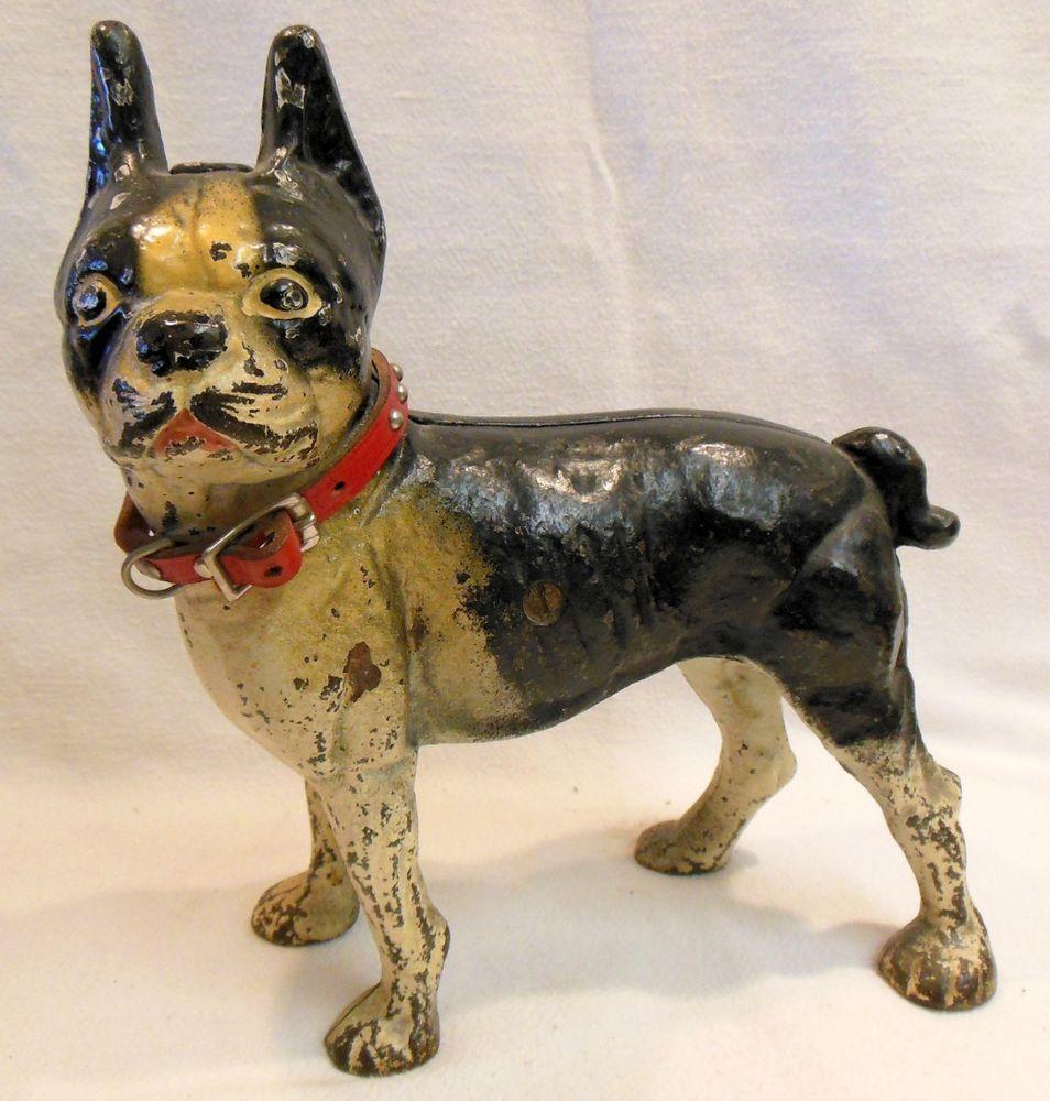 Late 1800's Hubley Cast Iron Boston Terrier Doorstop Left Facing w Collar  9.75