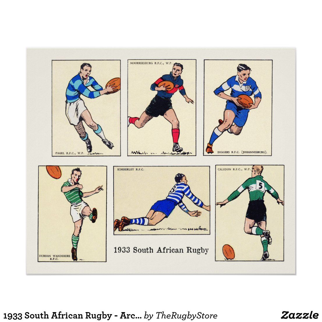 1933 South African Rugby Archival Print Zazzle Com In 2020 South African Rugby Rugby Archival Print