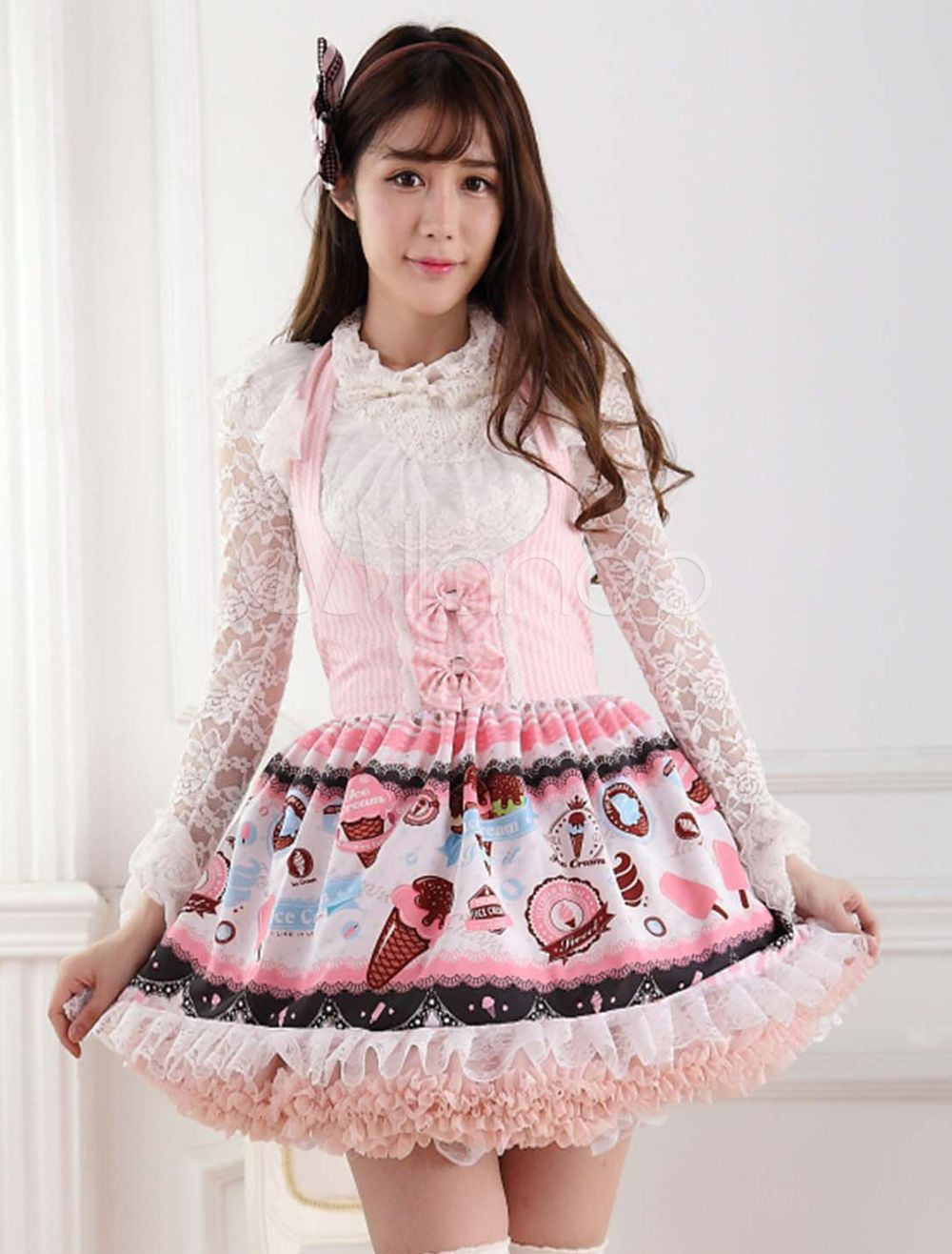 Cheap Lolita Jumper Skirt Buy Quality Lolita Jumper Directly From China Necked Girls Suppliers Japanese Super Cute Pink Ice Cream Printed Halter Neck