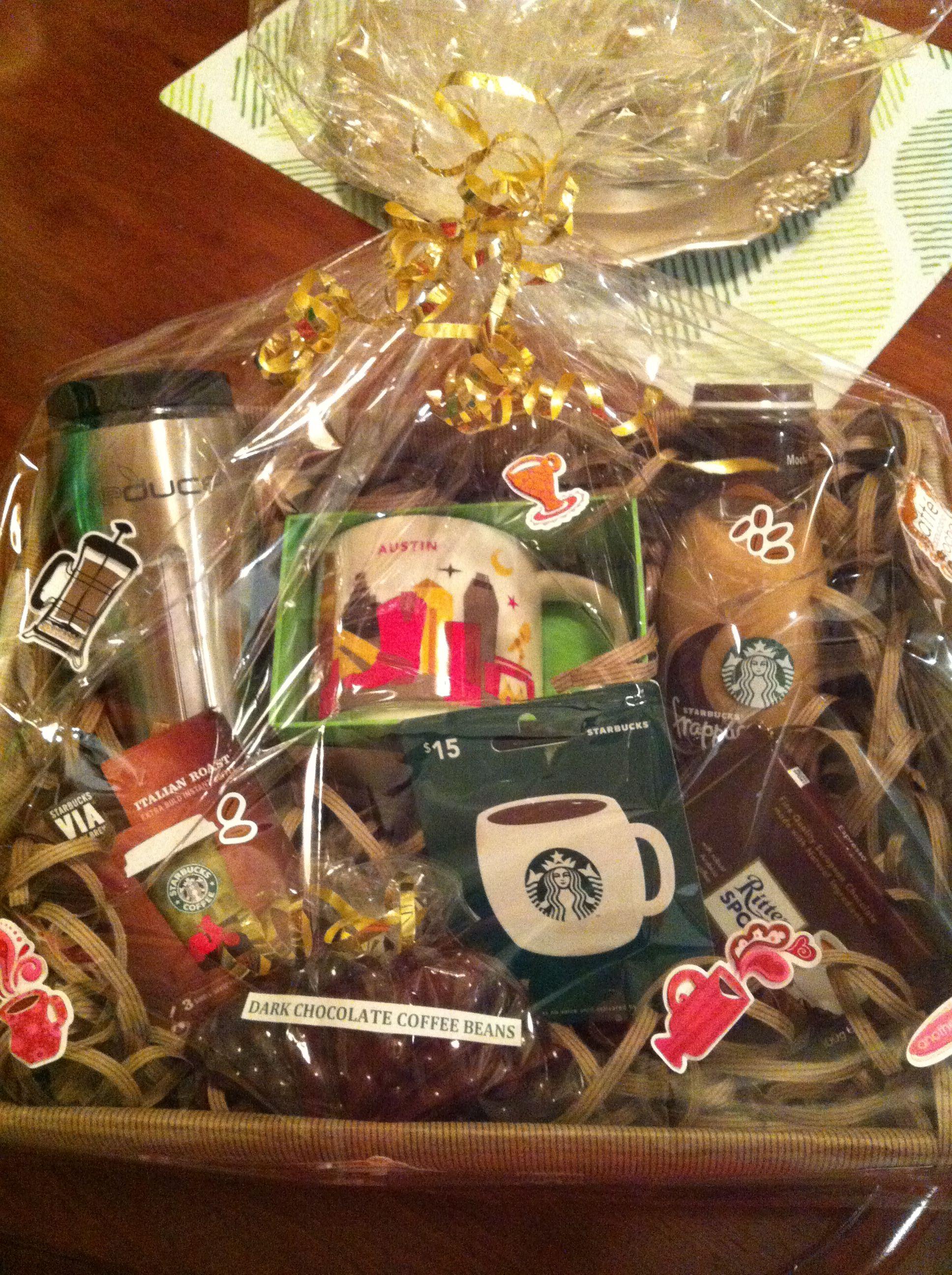 Handmade Starbucks Coffee Themed Gift Basket Or Auction