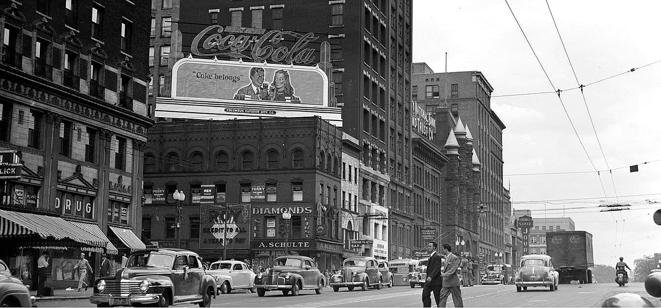 Broad an High in the 1940s. Historic Columbus Ohio