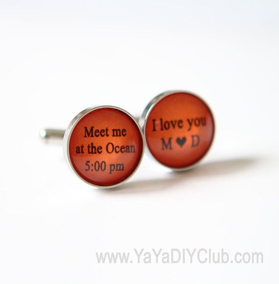 Burnt Orange Wedding Gift For Groom From Bride Beach Favor To Idea Cuff Links Personalized