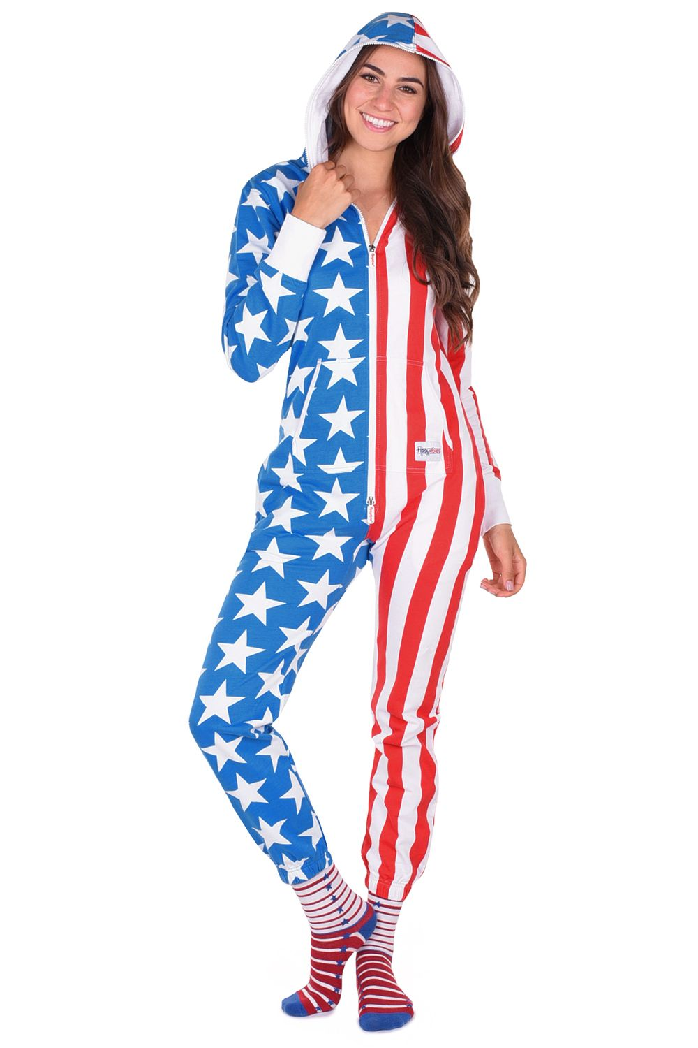 605624ddd Women's American Flag Jumpsuit | Tipsy Elves. July 4th, Stars and Stripes,  Patriotic Outfit, Summer
