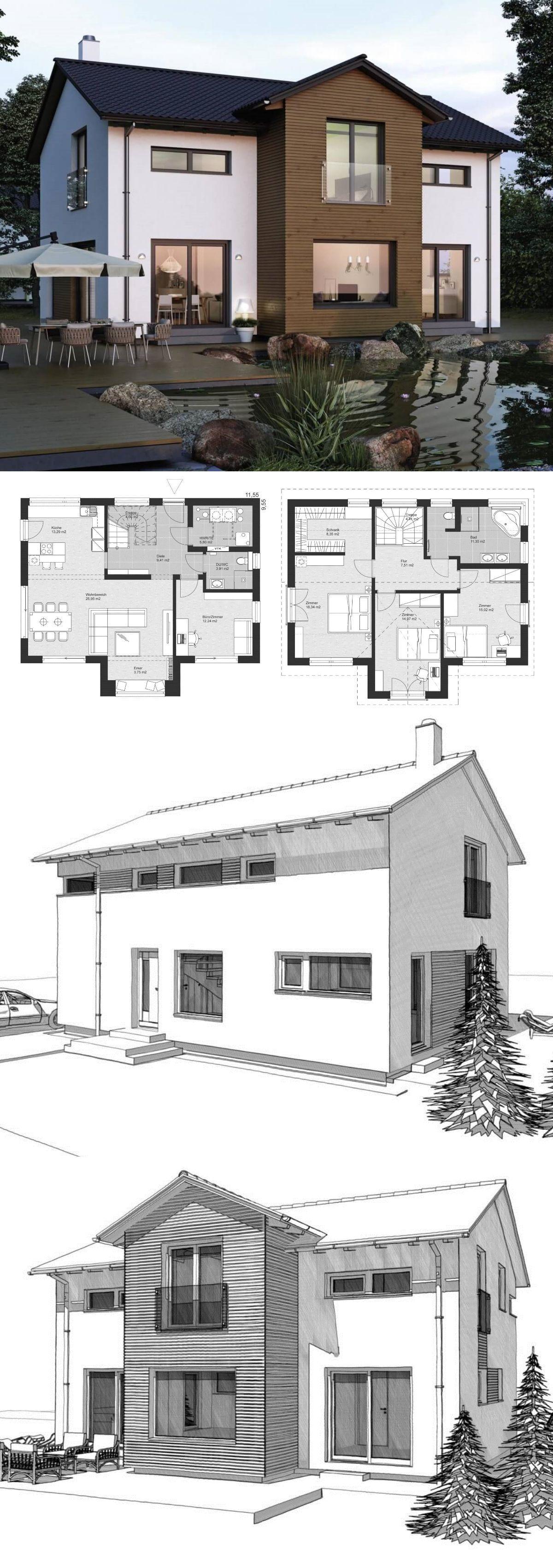 Modernes einfamilienhaus mit satteldach architektur im for Modernes einfamilienhaus grundriss
