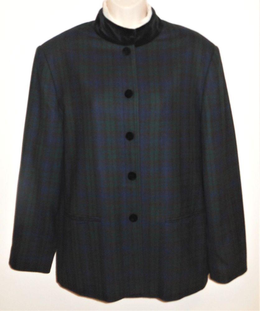 5b550da2040 Orvis Wool Blazer Black Watch Plaid Velvet Jacket 16 L XL Women Blue Green  Black  Orvis  Blackwatch  Plaid  TArtan  Velvet  BlackwatchPlaid   CareerStyle