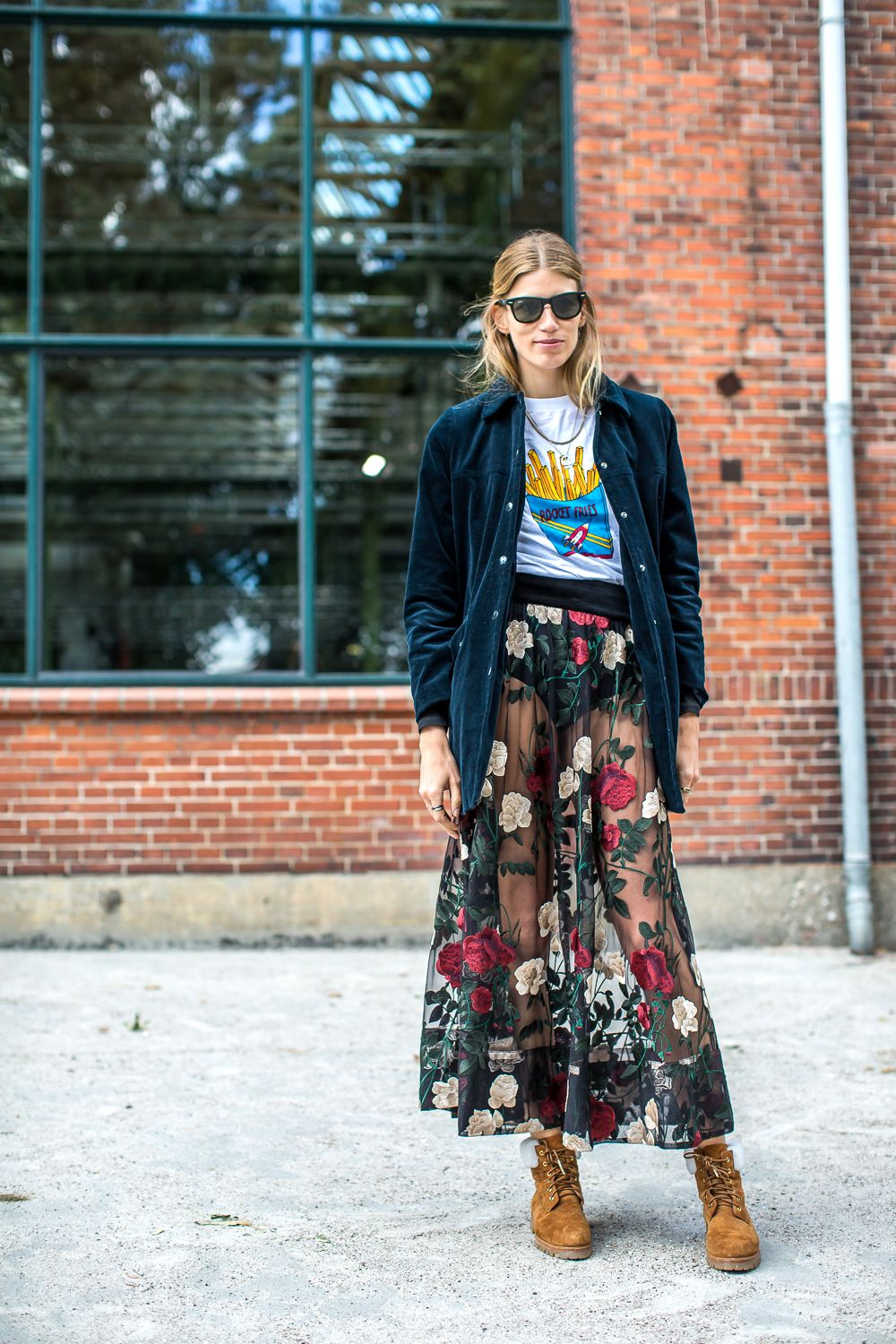 a8858ac52f velvet shirt layered with comic graphic t-shirt and decorative transparent  maxi skirt. Saved by Gabby Fincham.
