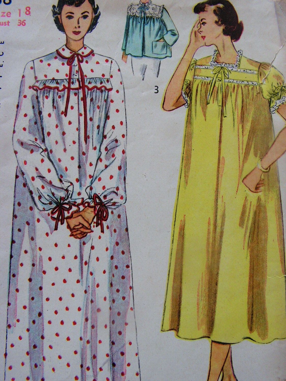 Nightgown u bedjacket miss size bust simplicity vintage
