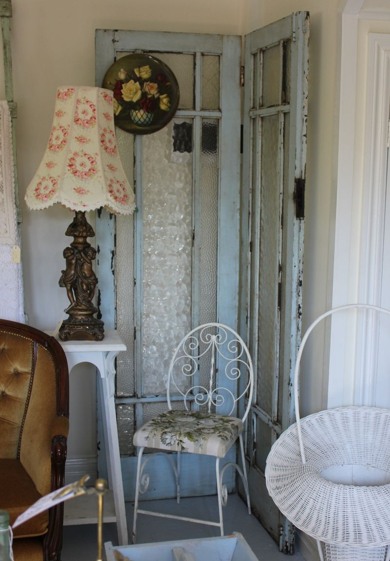 medium resolution of screen made from two old french doors hinged together used in showroom to hide fuse box www time worn style com for decorating with vintage antiques