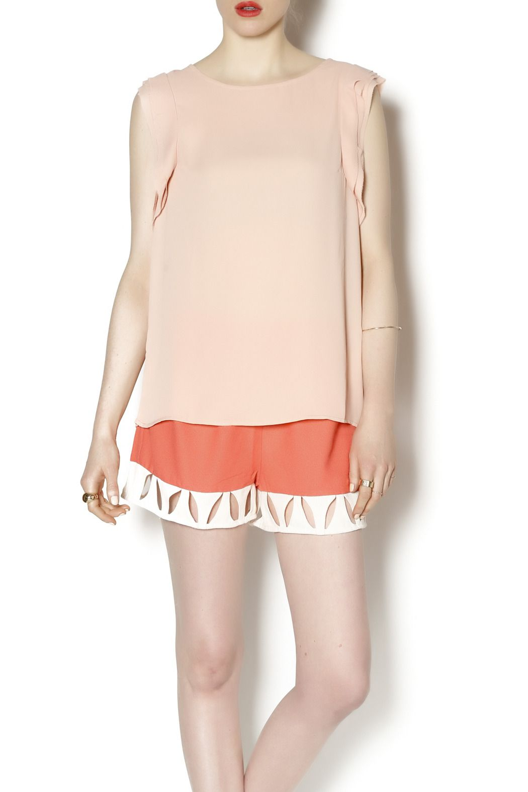 Flowy blush tank with ruffled sides. This tank can be worn to dinner dates or with jeans. You're sure to get a lot of wears out of this top.   Blush Dress Blouse by olive & oak. Clothing - Tops - Sleeveless Clothing - Tops - Blouses & Shirts New Jersey